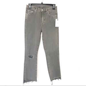 New MOTHER Insider Crop Step Fray Jeans Grey